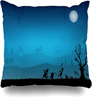 iDecorDesign Throw Pillow Covers Dog Bat Thai Children Trick Treating Funeral Night Banana Tree Boy Candy Cat Grave Home Decor Pillow Case Square Size 16 x 16 Inches Pillowcase