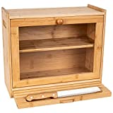 Large Bread Box for Kitchen Countertop – 2-Shelf Bamboo Pastry Box with Cutting Board, Serrated Bread Knife, and Display Window – Bread Keeper for Pantry Organization and Storage by Kitchen Seven
