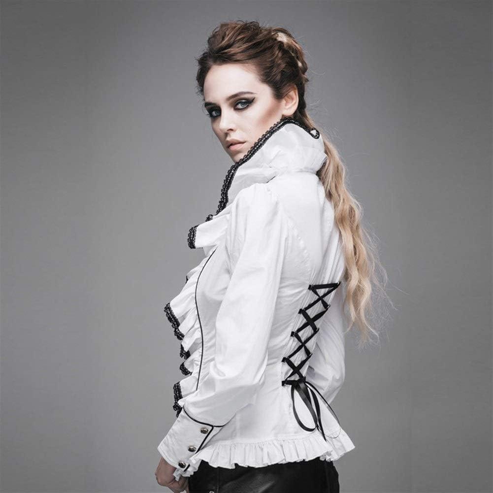 LHQ-HQ Slim fashion was thin long-sleeved big lotus leaf collar shirt female wild temperament shirt Gothic clothing White