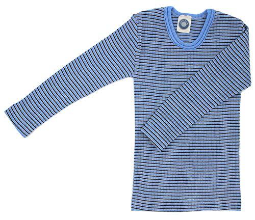 Cosilana Kinderhemd, Größe 140, Farbe Hellblau-Braun-Natur - Exclusiv Wollbody®GmbH - Qualität 91 45% Baumwolle KBA, 35% Schurwolle kbT, 20% Seide