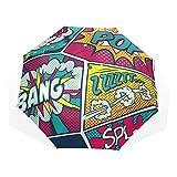 LASINSU Paraguas Resistente a la Intemperie,protección UV,Dibujos Animados Comic Colorido Pop Retro Divertido Boom