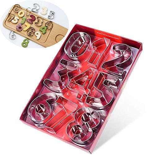 9 stampini in acciaio inox, Set di stampi per Biscotti a Forma di Numeri per dolci, a forma di numeri, da 0-9, set per torte, per glassa, crema, torta alla frutta, torta nuziale, compleanno