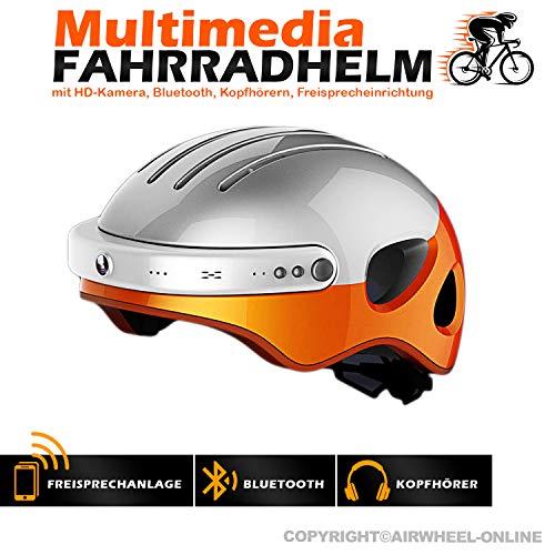 Fahrradhelm mit HD-Actionkamera AIRWHEEL C5. Helm mit integrierter Freisprecheinrichtung, HD-Kamera, Bluetooth. L Größe (Kopfumfang 53-58cm). Farbe: weiß-orange. TOP QUALITÄT!