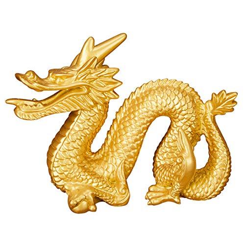 KKJJ Feng Shui Chino Dragón de Suerte Decoración, Resina Estatua Feng Shui Dragón del Zodiaco Riqueza Estatuilla Decoración, para Atraer la Riqueza y la Buena Suerte,13.5cm