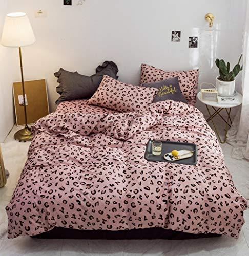 Wondder Juego de Funda nórdica, Juego de Cama de algodón 100% Juego de Ropa de Cama Suave y cómoda (Leopardo Rosa, 135 * 200cm)