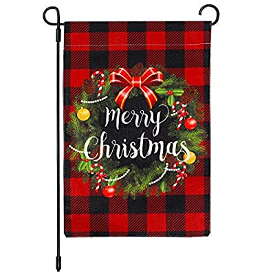 Cynosa Christmas Wreath Garden Flag, Buffalo Check Plaid Merry Christmas Flag Vertical Double Sided, Winter Valentine's Day Farmhouse Garland Flag Outdoor Yard Home Decorations 12.5 x 18 Inches