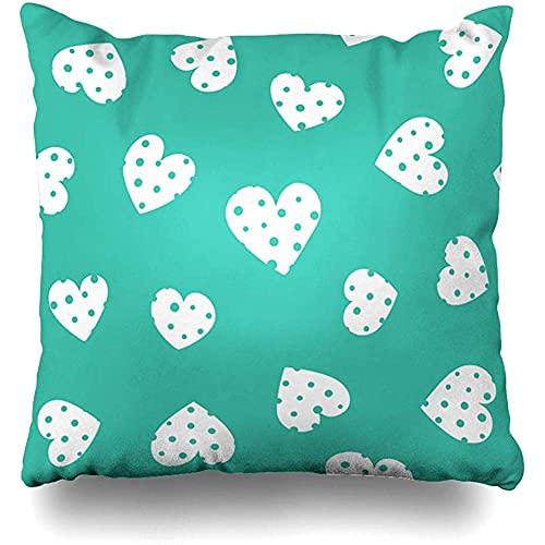 Throw Pillow Cover Birthday Green Aquamarine Hearts Pattern Abstract Day Baby Celebration Diseño para niños Blanco Decoración para el hogar Funda de cojín Tamaño Cuadrado 18 'x 18' Funda de