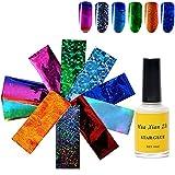 Mosaic Nail Art Transfer Foils10PCS, with Nail Foil Glue Gel (A)