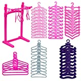 HighFun 60Pack Doll Furniture Clothing Rack 55PCS Colourful Plastic Little Doll Hangers for Barbie Doll Clothes Wardrobe Doll Clothes Accessories