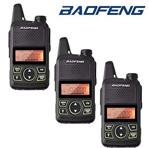 BAOFENG BF-T1 Walkie Talkie 20 Kanäle UHF PMR Funkgeräte Handfunkgerät mit USB Ladeschale und Headset (3 STÜCKE, Schwarz)