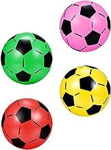 CLISPEED 4pcs Inflatable Soccer Balls Blow Up Football Classic Soccer Ball Plastic Sports Ball Toys Birthday Summer Beach ...