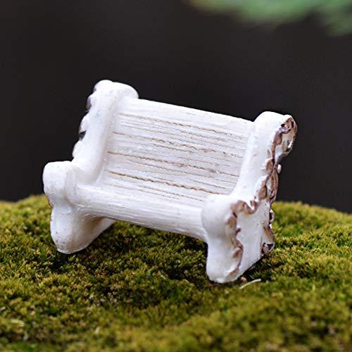 TankMR Miniatur-Landschafts-Figuren aus Kunstharz, für Feengarten, Gartendekoration, Weiß
