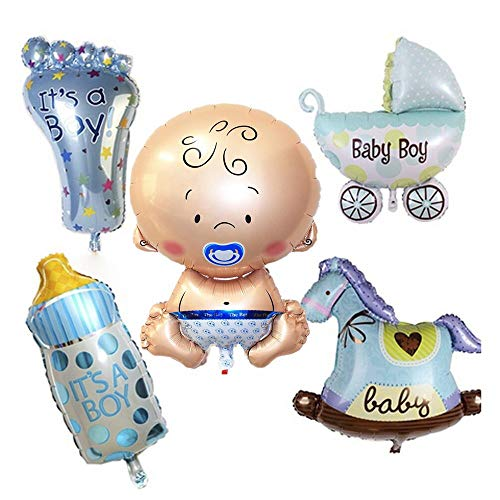 5 Piezas Baby Boy Globo De Helio, Globo Helio Bebé, Baby Shower Globos, Babyshower Its a Boy Baby Party Party and Decoration(Azul)