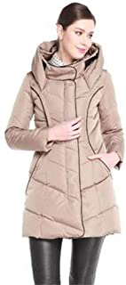 2019 New Women's Long Puffer Down Jacket with Hood Slim Fit Thicken Fashion Coat,Camel,L