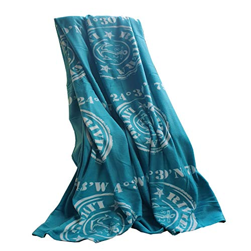 Casa Colori Polar Fleece Blanket XXL 200 x 200 cm Cuddly Blanket Living Room Blanket with All-Over Print in Petrol Blue