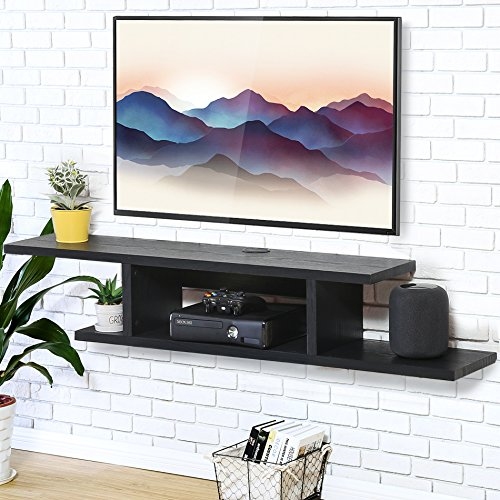 FITUEYES Wall Mounted Media Console,Floating TV Stand Component Shelf, Entertainment Center Unit,Black DS211801WB