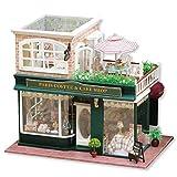 ZHBB Casa de madera DIY casa de muñecas de café francés tour grande hecho a mano modelo casa de San Valentín regalo de cumpleaños