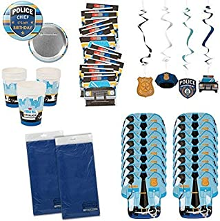 My Family Gift Shoppe Police Party Supplies Policeman Policewoman Birthday Party Tableware Bundle Set Includes Tablecloths...