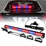[Upgraded] Xprite 31.5' 28 LED Strobe Emergency Traffic Advisor Warning Light Bar 13 Flashing Patterns w/ Suction Cup Mount for Police Volunteer Firefighter Vehicles Trucks SUV ATV Cars - Red & Blue