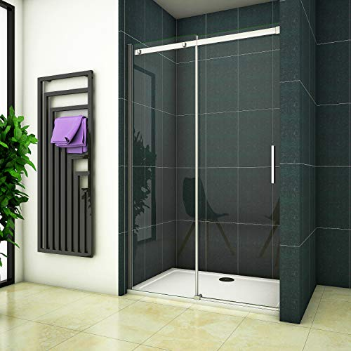 120x195 Duschabtrennung Duschwand Dusche Schiebetür Nischentür 6mm Klarglas ohne Duschtasse