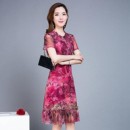 MeiZiZi Esprit Kleid Chiffon,Kurzarm-Kleid,Damen Sommerkleid,Slim Fit Lange Print Kleid,Fuchsia,XXXXXL