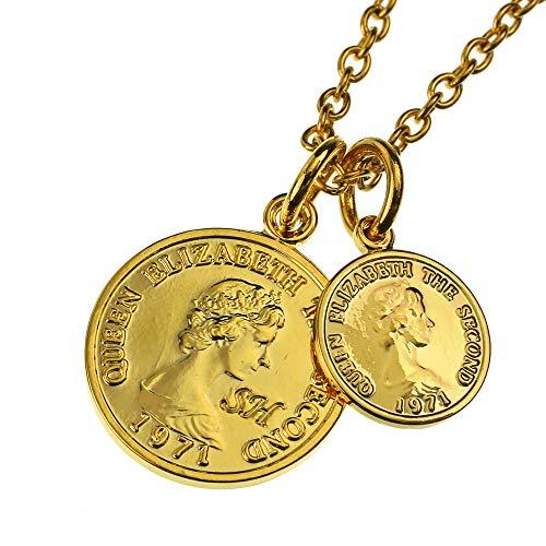 SHUMAIL(シュメール) ダブルゴールド コイン ペンダント ネックレス (エリザベス) (2.5mmステンレスアズキチェーン 50cm付き)