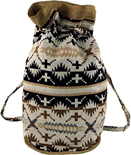Guru-Shop Indischer Boho Rucksack, Ethno Schulterbeutel, Shopper - Weiß/schwarz, Herren/Damen, Beige, Baumwolle, Size:One Size, 48x20x18 cm, Ausgefallene Stofftasche