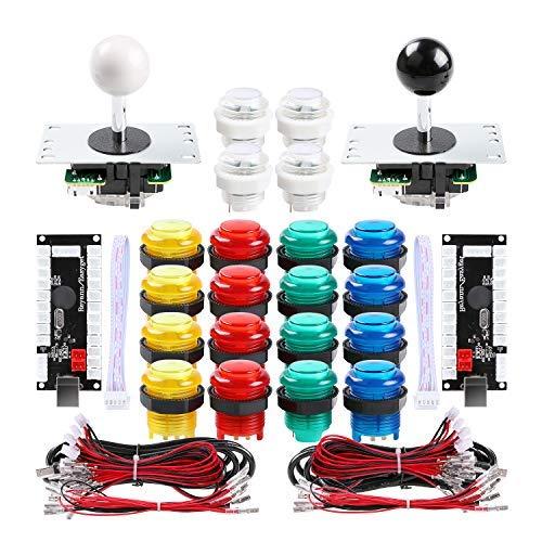 Qenker 2 Player LED Arcade DIY Parts 2X USB Encoder + 2X Joystick + 20x LED Arcade Buttons for PC, MAME, Raspberry Pi, Windows (Mixed Color Kit)