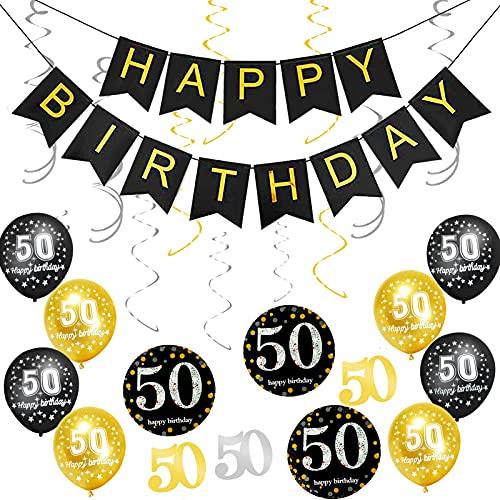 Adultos Decoración de Fiesta,decoracion cumpleaños,globos cumpleaños,látex para Hombres y Mujeres Decoraciones,Clásico Decoración de Cumpleaños,Decoración de Fiesta de cumpleaños (50 cumpleaños)