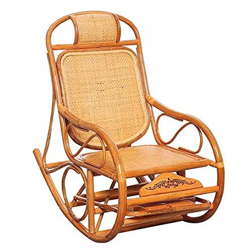 DGDF Mecedora mecedora de madera de ratán reclinable para personas mayores, reposapiés con rueda de masaje, silla de jardín