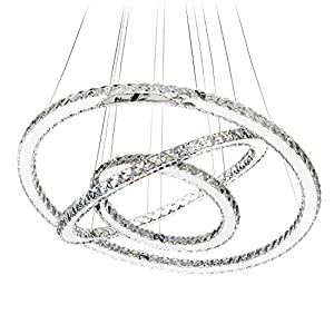 MEEROSEE Crystal Chandeliers Modern LED Ceiling Lights Fixtures Chandelier Lighting Dining Room Pendant Lights Contemporary 3 Rings Adjustable Stainless Steel Cable DIY Design