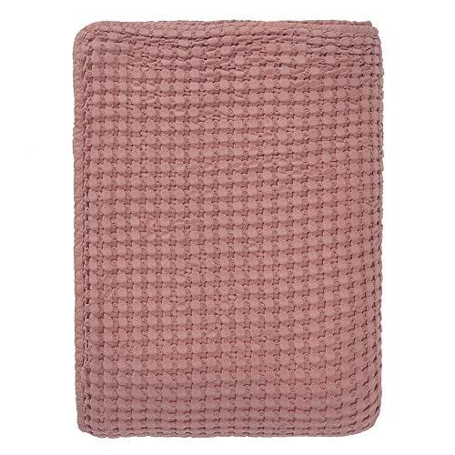 URBANARA 275x265 cm Tagesdecke/Plaid Veiros Altrosa — 100% Reine Baumwolle — ideal als Bettüberwurf oder Kuscheldecke mit Strukturiertem Waffelmuster — geeignet für Einzel- und Doppelbett