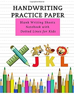 Handwriting Practice Paper: Paperback book Cute Cartoon Pattern For Writing Sheets with Dotted Lines for Kids, Volume 3