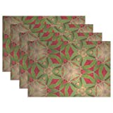 ENEVOTX Pattern Green Red Kaleidoscope Placemats Set of 4 Heat Insulation Stain Resistant for Dining Table Durable Non-Slip Kitchen Table Place Mats
