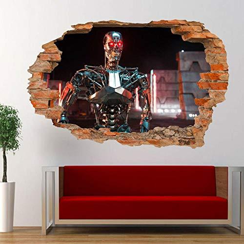 Pegatinas de pared con vista 3D, pegatina de pared con robot, Mural de arte 3D, tienda de oficina, 50 CM x 70 CM