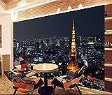 FSKJBZ 3D Wallpaper Benutzerdefinierte Fototapete Wohnzimmer Tokyo City Nightscape Malerei Tv Sofa Hintergrund Vliestapete für Wände 3D @ 450cmx300cm