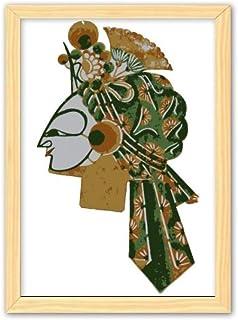 CaoGSH Cadre photo décoratif en bois avec tête de jeu chinoise A4