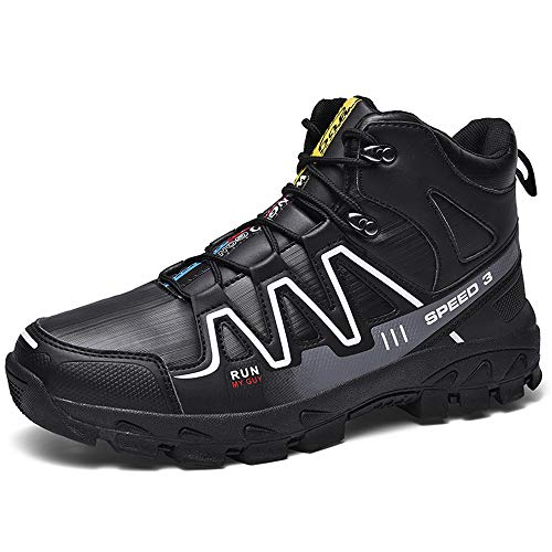 N.Y.L.A. Men's Bicycle Shoes, Winter Waterproof Warm Windproof Mountain Road Sports Boots, Casual high-top Skid Hiking Snow Boots, Suitable for Outdoor Travel Sports Mountaineering ZDDAB