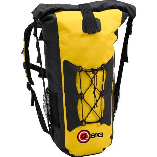 QBag Motorrad Rucksack Herren und Damen Fahrradrucksack Rucksack 05, wasserdicht, staubdicht, widerstandsfähig, reißfest, Gute Rückenbelüftung, Rollverschluss, integrierter Tragegriff, Gelb, 45 Liter