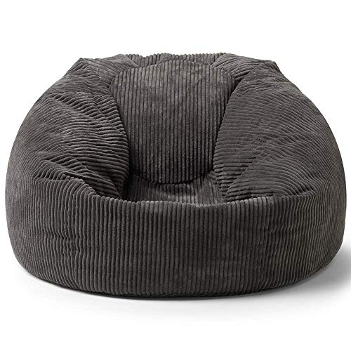 icon Soul Cord Bean Bag Chair, Charcoal Grey - 85cm x 50cm, Giant Jumbo Cord Snuggle Seat, Living Room Bean Bags