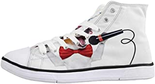 Popstar Party Stylish High Top Canvas Shoes,Hollywood Walk of Fame Symbol Celebrity Entertainment Culture for Men & Boys,US 6.5