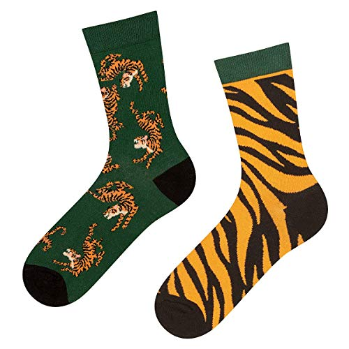 soxo Damen Bunte Muster Socken | Größe 35-40 | Motivsocken aus Baumwolle | Lustige Geschenk für Frauen (Tiger)
