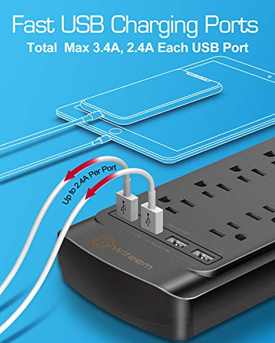 Surge Protector with USB (4360 Joules), Witeem 12 Outlets Power Strip and 4 USB Charging Ports (5V/3.4A), Flat Plug, 1875W/15A, 6 Feet Heavy Duty Extension Cord, ETL Listed, Black 3