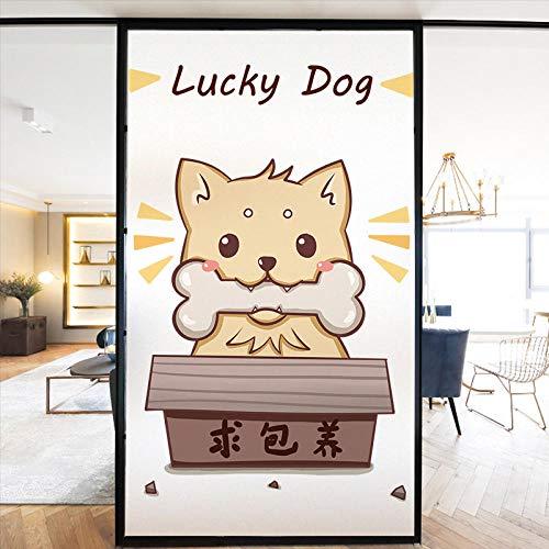 Cartoon niedlichen Katze Fenster Glas Film Bad Bad Anti-Voyeur Glastür und Fenster statischen Aufkleber selbstklebend-Glücklicher Hund_90x120cm