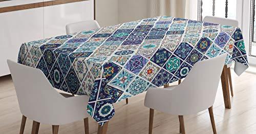 ABAKUHAUS Tradicional Mantele, Azulejo portugués Retro, Estampa Personalizada con Colores Firmes Lavable No Destiñen, 140 x 240 cm, Multicolor
