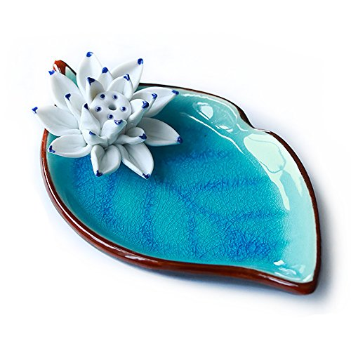 Soporte de Incienso Censer Ceramic Handmade Artistic Burner Stick Coil Lotus Porcelain Flor...