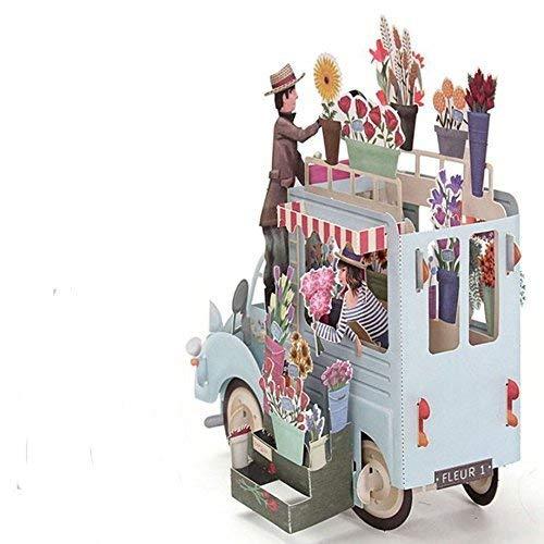 Banbo Yohi Pop up 3D Grußkarte/Geburtstagskarte / Hochzeitstag /, Hochzeitskarte/Muttertag / Frohe Weihnachten Karte/Thanksgiving Day Card (flower car)