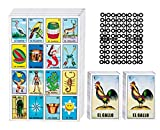 Loteria Mexican Bingo Game Kit - Loteria Cards Mexican Bingo Game for 20 Players - Includes 2 Deck of Cards and Boards - with Free Markers - for The Entire Family - Great for Learning Spanish.
