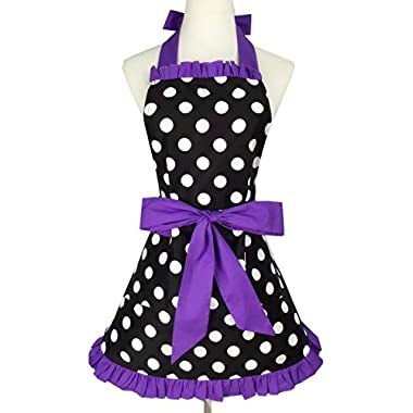Aspire Kitchen Apron For Women Retro Polka Dots Cooking Aprons Cafe Working Aprons-Black Purple-M