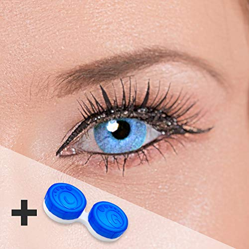 Eye Effect farbige Kontaktlinsen in vielen Farben für schöne natürlich Augen + gratis Kontaktlinsenbehälter (Blau Aqua) - 4
